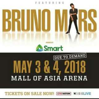 2 VIP1 Day1 Bruno Mars tickets