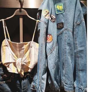 Jacket denim patch oversize