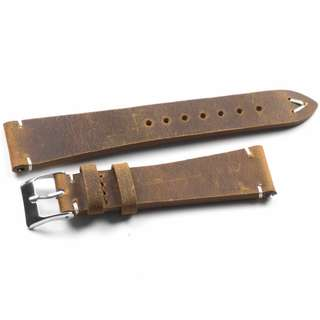 Kvarnsjö Retro Khaki With White Stitching Sweden Handmade Leather Watch Strap 20mm (Malaysia)