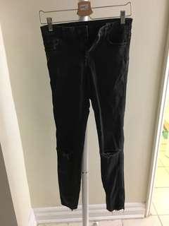 Zara Washed Black Jeans with frayed hem size 4