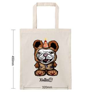 (全館免運)XiuBox 創作厚版環保袋 法鬥小熊