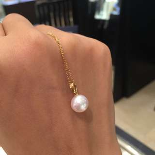 Akoya lavender pink pearl pendent 18k gold