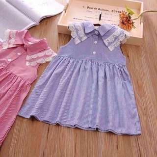 Girl striped sleeveless dress