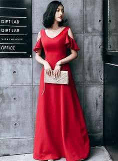 Maxi: Red Off Shoulder V-Neck Long Dress (One Size) - OA/KKE011121