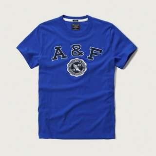 【LA 潮流】清庫存特價,只賣真! AF美國 A&F經典刺繡貼花 圓領休閒時尚短袖T恤 短Tee 112736 -藍 !