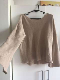 overized flare sleeve Knitted Top in nude