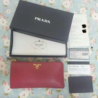 真品PRADA莓紅 桃色水波紋長夾 皮夾(義大利購入)保證正品