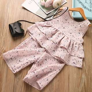 Girls floral doll skirt + girls wide leg pants two sets