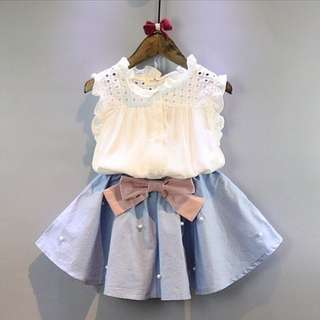Girls hollow sleeveless shirt + skirt