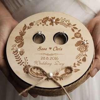 Custom rustic ring pillow / ring holder / box - round