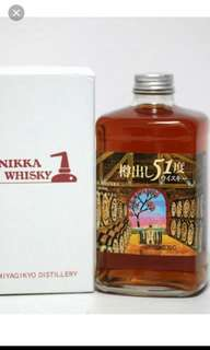 已停止生產,罕有宮城峽樽出原酒51度特別版威士忌500mI連盒。