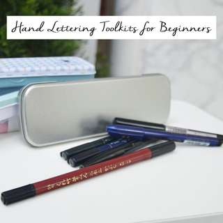 Hand brush lettering kits for beginners - Choose from 3 kits for different beginner levels; Hand lettering pens Wife girlfriend gift Tin pencil box case Metal case box pen Hard case