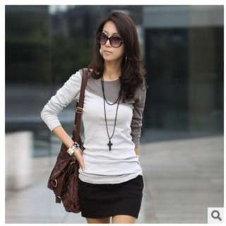 Women's 5 Color Splice Casual Round Neck Long Sleeve T-Shirt Blouse Tops