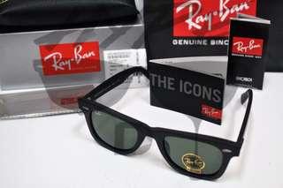 Authentic Ray Ban Wayfarer Classic RB2140-F 901S 50MM Black Matte
