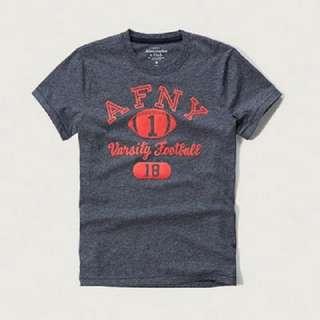 【LA 潮流】清庫存特價,只賣真品! AF美國 A&F絨布印圖 圓領休閒時尚短袖T恤 短Tee AF001D1-灰 !