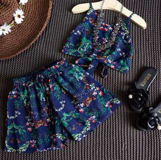 Summer girl floral strap + shorts set 2 piece set