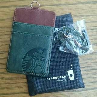 Starbucks Card Caddy / Starbucks Lanyard (Green & Brown Color)