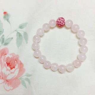 Natural Rose Quartz Crystal with Charm