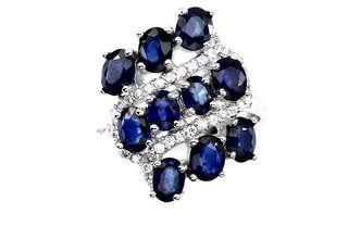 Elegant Rich Blue Sapphire Ring US6