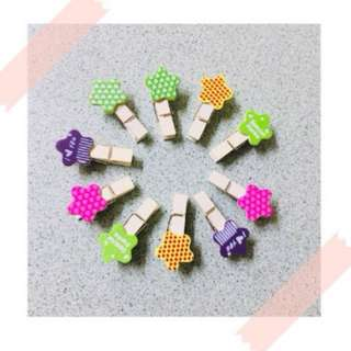 Wooden Clip Star and Frog