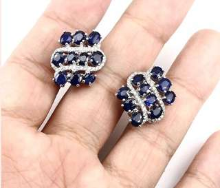 Elegant Rich Blue Sapphire Earrings