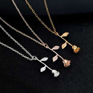 Beauty and the Beast Rose Gold Necklace