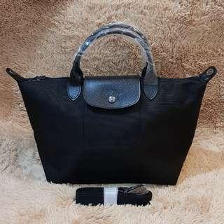 Longchamp Canvas M Original Black Made in France