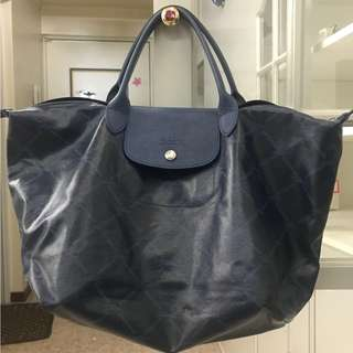 Longchamp LM Metal Medium Short Handle (Navy Blue)