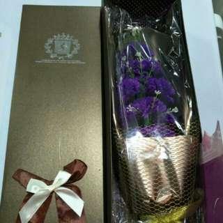 11 Purple Carnations Soap Flowers Bouquet + Gift Box
