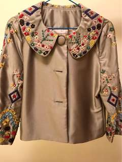 Silvery grey embroidered jacket