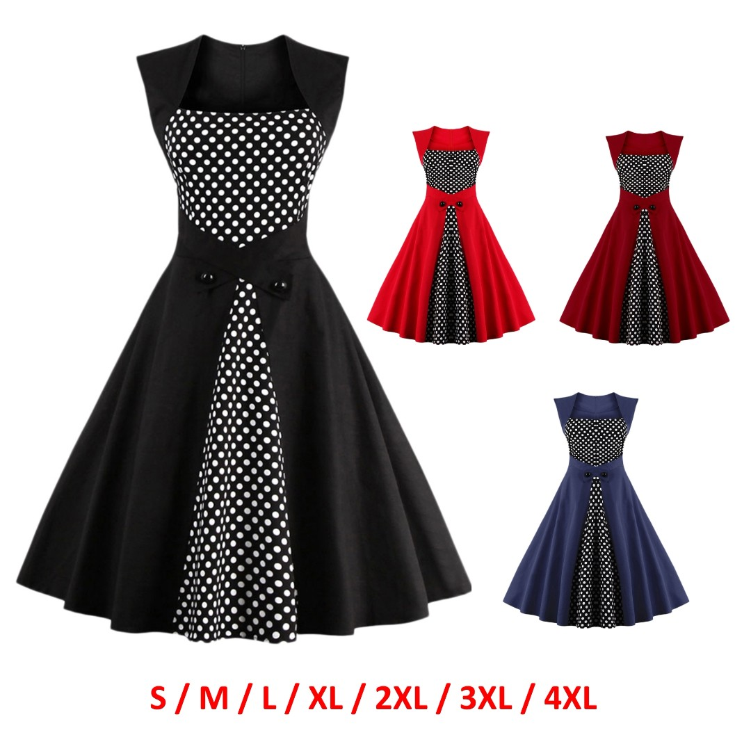 627eb5971990 💯 Polka Dot Semi Formal Midi Skater Dress
