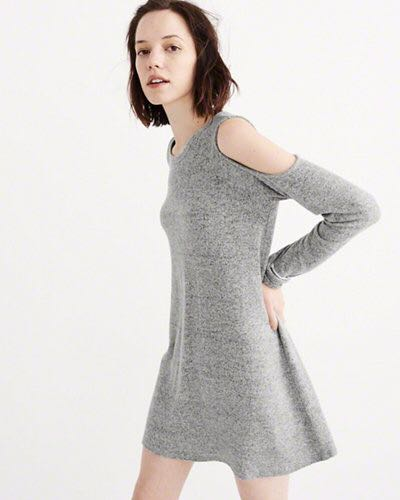 Abercrombie and Finch Grey Off the shoulder dress