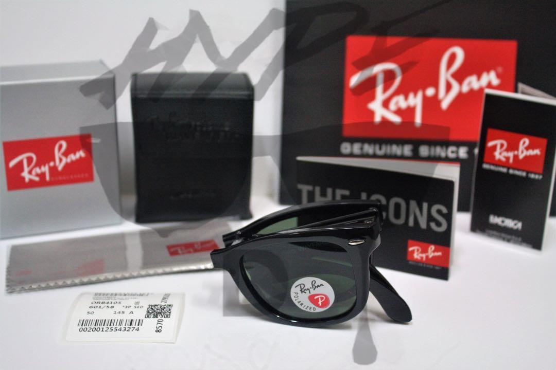 86edd29d6d Authentic Ray Ban Wayfarer Folding Polarized RB4105 601 50MM Medium ...