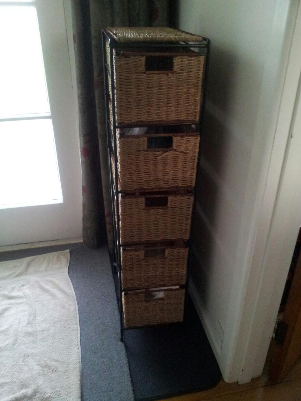 Cane tall drawer shelf