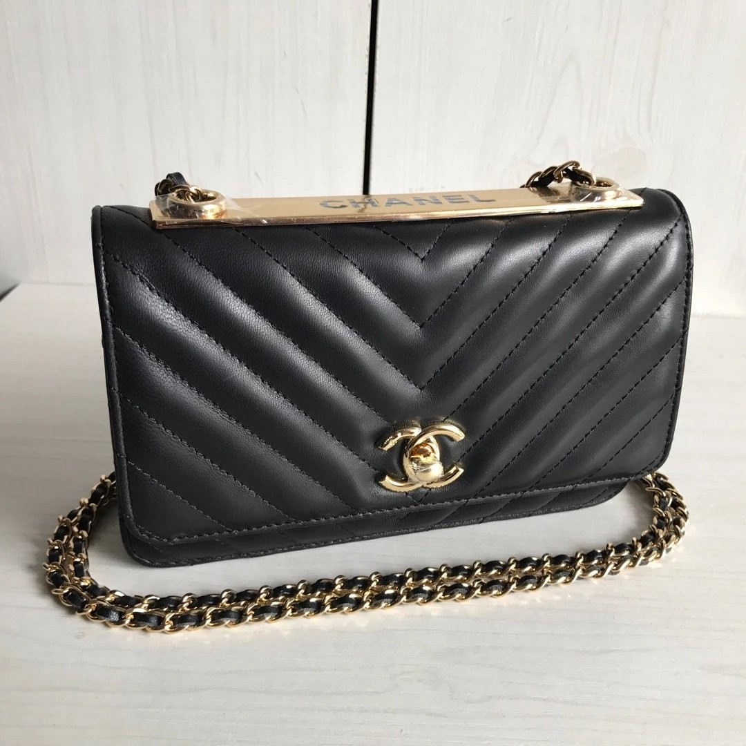 11f0c1e0c5c6 Chanel Lambskin Quilted Trendy Cc Wallet On Chain Woc Black - Best ...