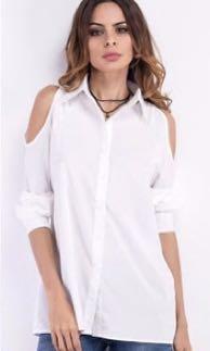 Cold Shoulder Crisp Button Down Shirt in White