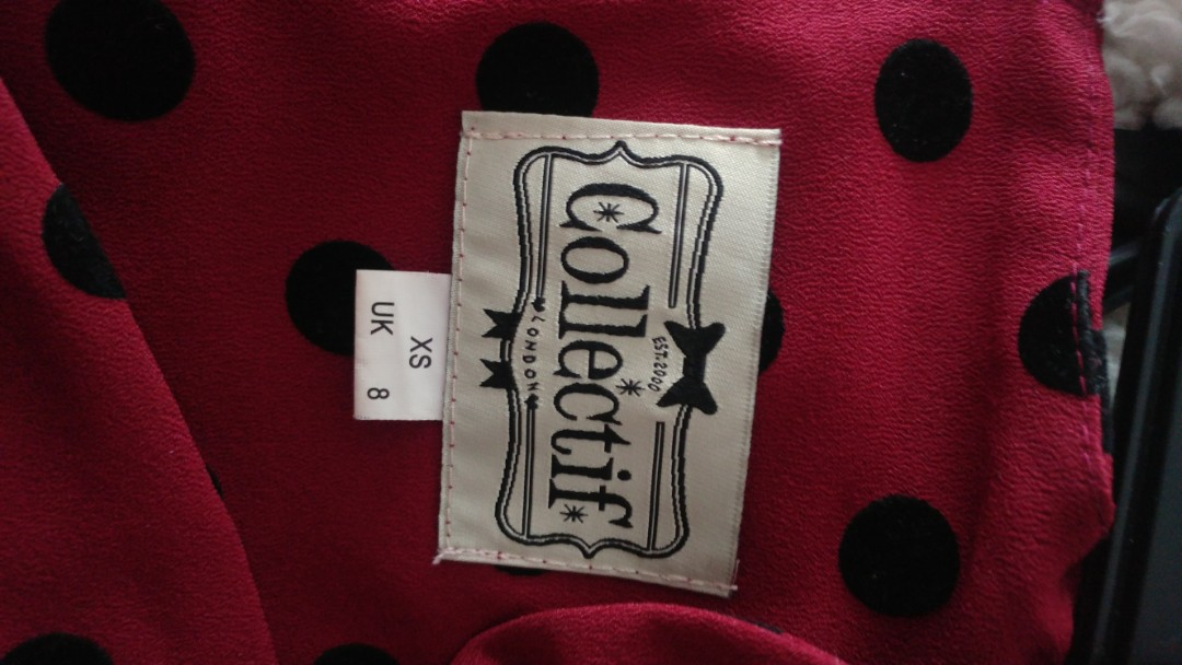 Collectif 50s style maroon polka dot dress