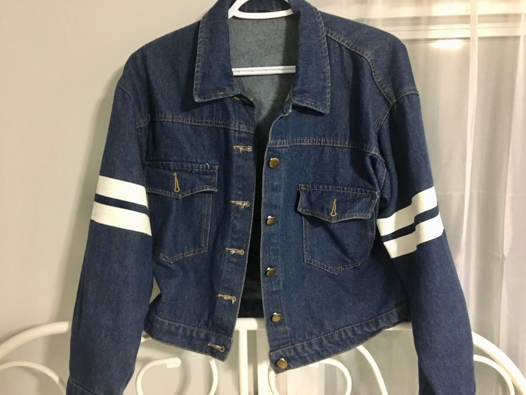 Denim Jacket with white stripes and font
