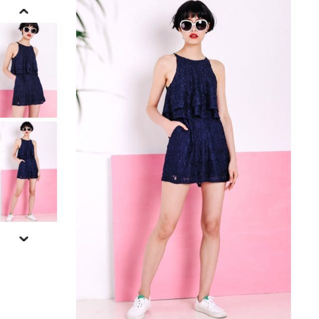 62214700f99 FASHMOB ODELIA LACE PLAYSUIT IN NAVY