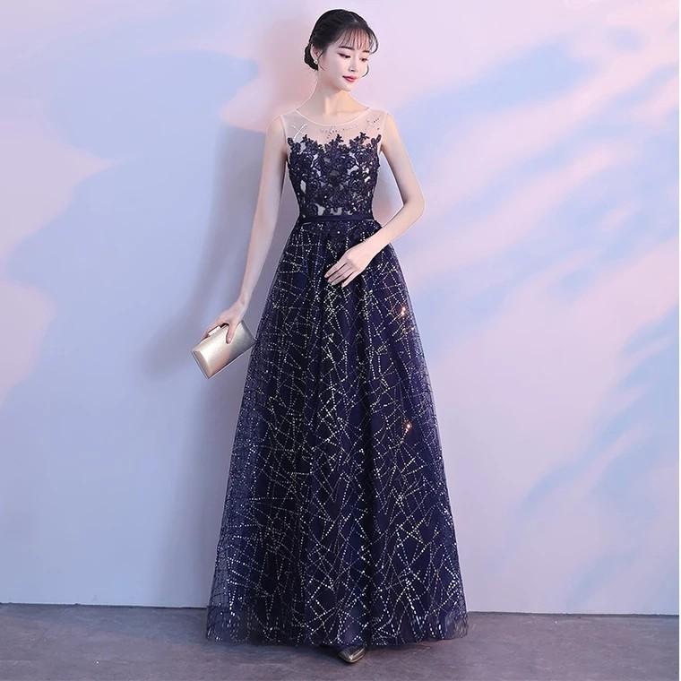 Galaxy Blue Shimmer Sequin Evening Gown (Rent), Fesyen Wanita ...