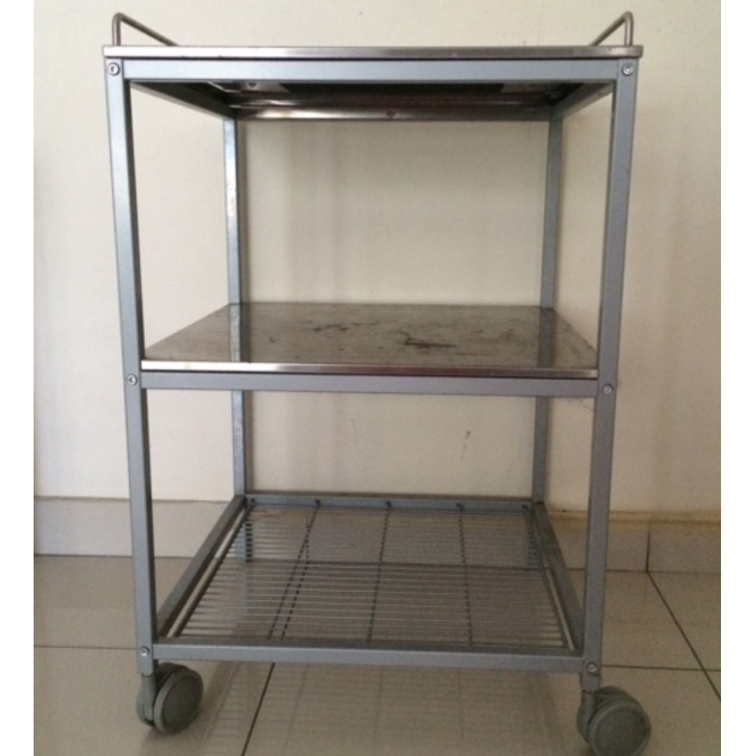IKEA Kitchen trolley, silver-colour, stainless steel ...