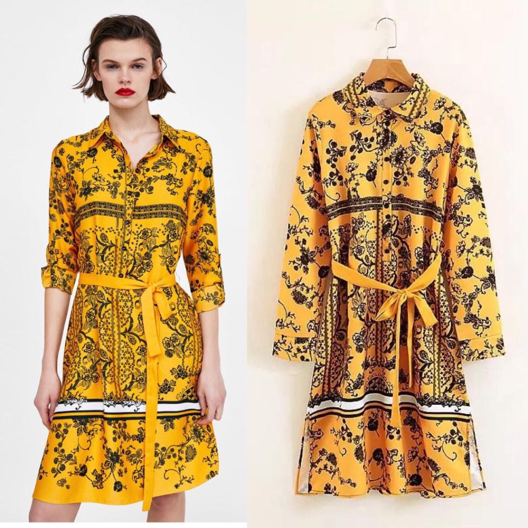 3e3442fecad Zara Printed Shirt Dress