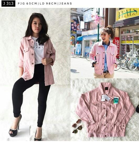 Jaket jeans pink milea