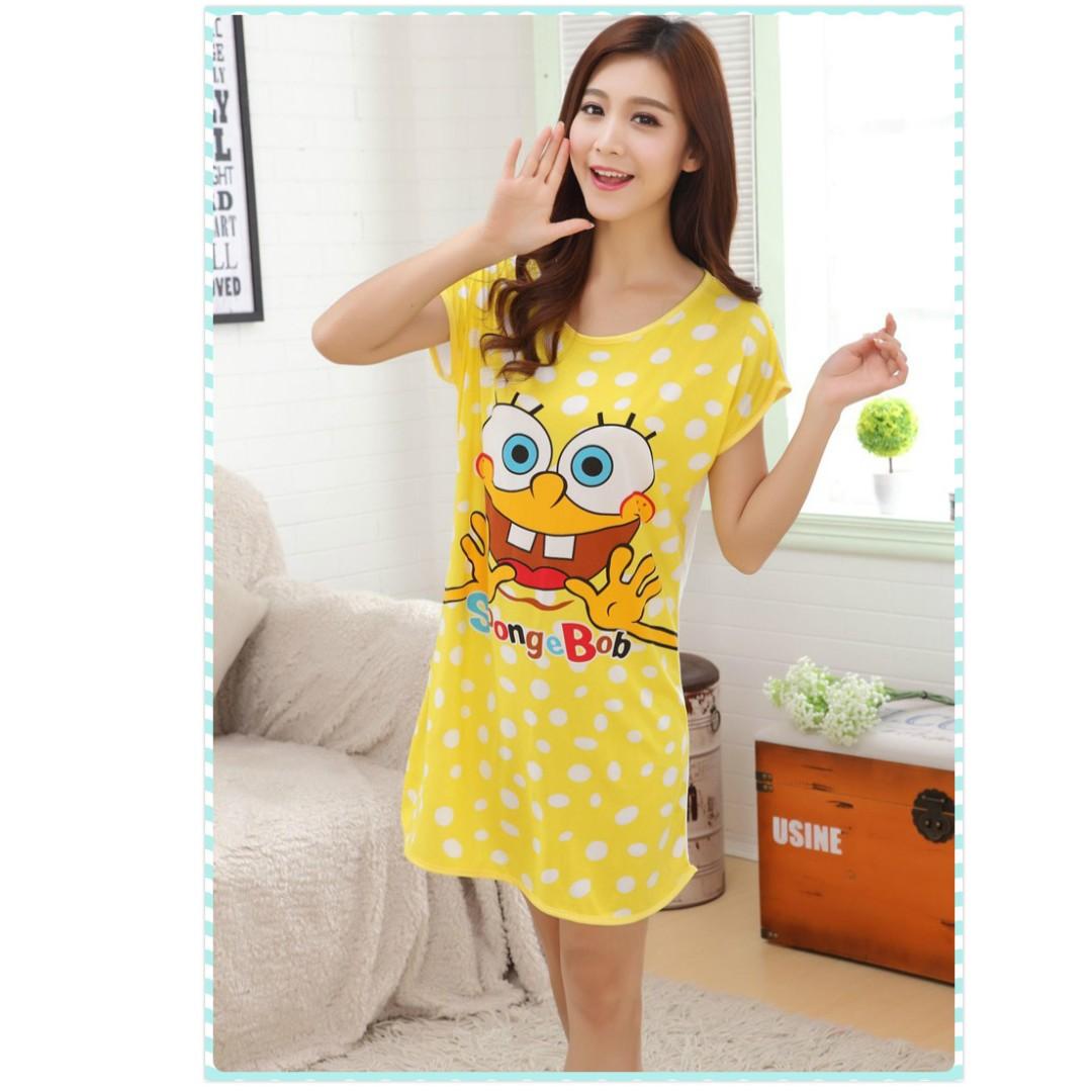 MuiMui Promotion Baju Tidur Polyester Pajamas Cartoon Nightdress Yellow  Spongebob M078 cdcad9f2e3