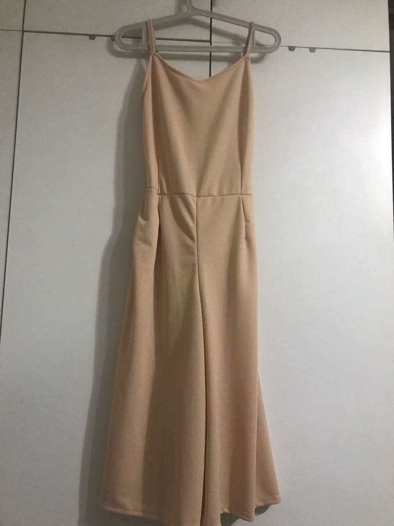Peach Pink Cullotes Jumpsuit