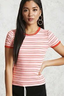 Red/Pink Striped Ringer Tee