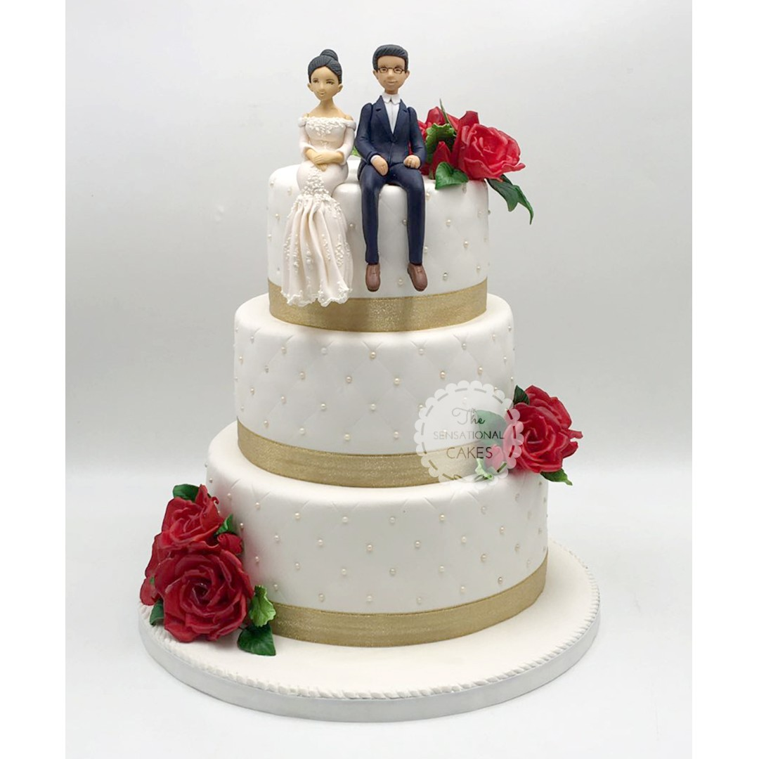 White And Gold 2 Tier Wedding Cake Singapore Singaporecake Food