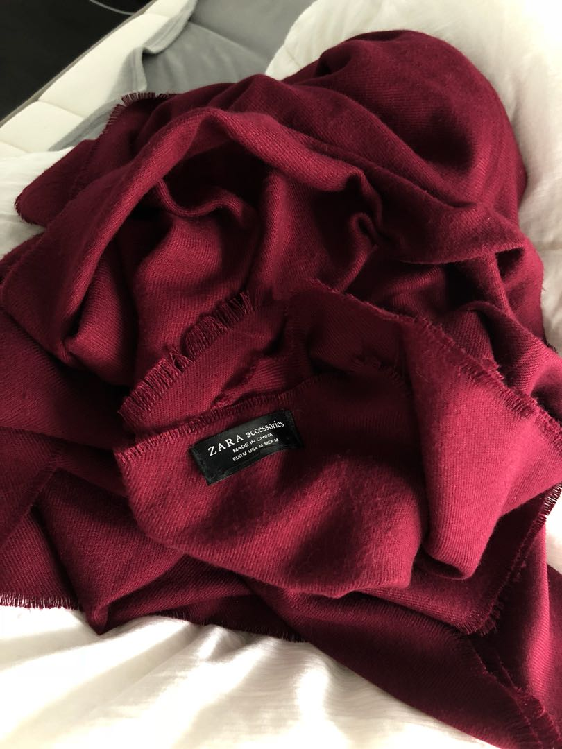 Zara wine maroon blanket scarf