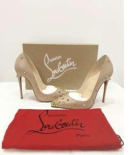 Christian Louboutin High Heel 紅底鞋/裸色鉚釘12cm高跟鞋