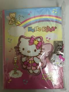 Sanrio Hello Kitty Hard Cover Diary Book Notebook Key Lock 288 Pages 硬皮 記事簿 連鎖頭